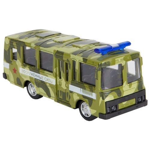 Купить Автобус Play Smart ПАЗ (Р49228), 11 см, камуфляж зеленый, Машинки и техника