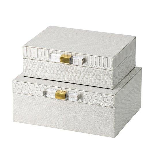 Шкатулки, набор 2 предмета 26x21x11 см, белый