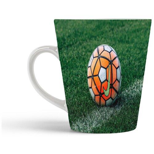 Кружка-латте CoolPodarok Футбол Футбольный мяч Найк Оранжевый Трава