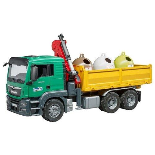 Уборочный грузовик Bruder Man с 3 мусорными контейнерами (03-753) 1:16, зеленый/желтый