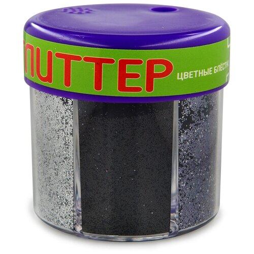 Купить Глиттер для декора с дозатором №3, 60 грамм, серебро (6 цветов), Альт, Декоративные элементы и материалы
