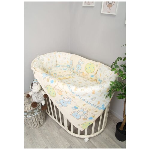 Купить Сонный Гномик комплект в круглую кроватку Акварель (6 предметов) голубой, Постельное белье и комплекты