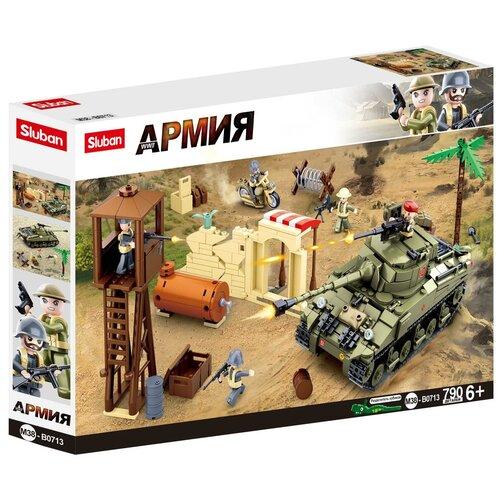 Конструктор SLUBAN WW2 M38-B0713 Средний танк Наступление конструктор sluban ww2 m38 b0682 газ 67