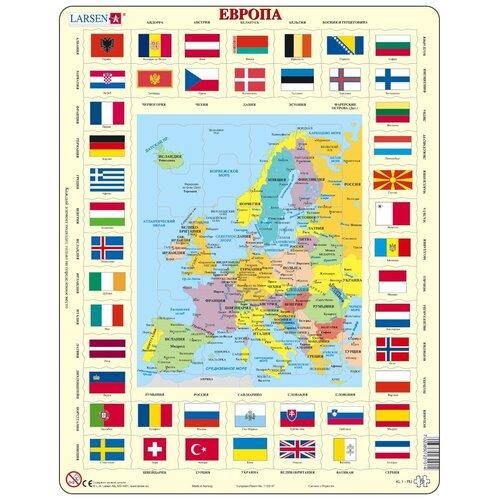 Рамка-вкладыш Larsen Карта и флаги Европы (KL1), 70 дет.