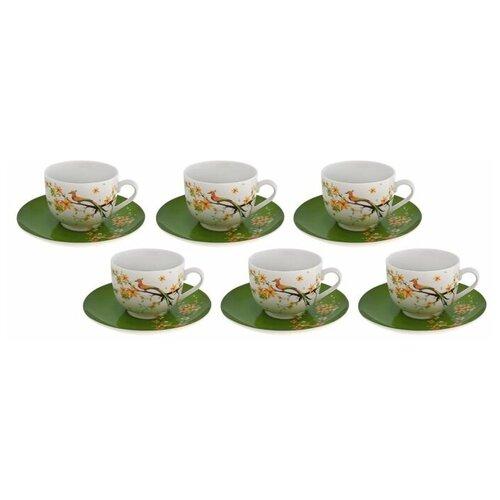 Фото - Чайный сервиз Domenik Paradise bird, 6 персон, 12 предм., белый/зеленый столовый сервиз domenik meadow dm9373 6 персон 19 предм белый цветы