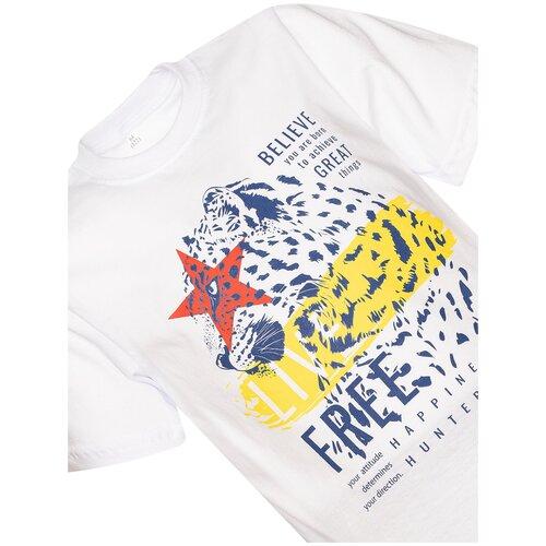Купить Комплект для мальчика 790 Утенок (футболка+шорты), рост 104 см, белый_джинс_леопард, Комплекты и форма