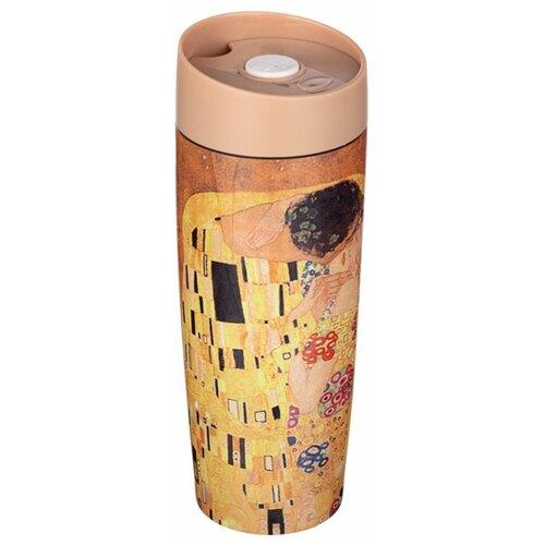 Термокружка Agness 709-058, 0.38 л коричневый/желтый