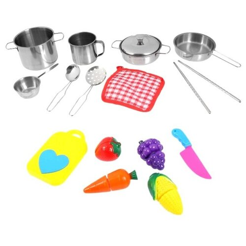 Купить Набор детской металлической посуды, с продуктами для резки, 15 предметов, TONG DE, Игрушечная еда и посуда