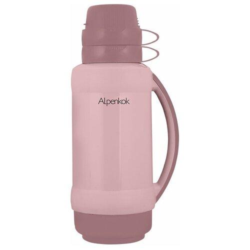 Классический термос Alpenkok со стеклянной колбой, 1 л бежево-розовый