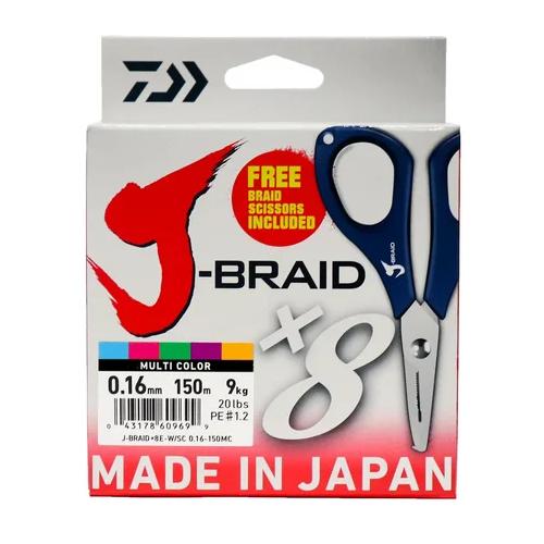 Плетеный шнур DAIWA J-Braid X8E-W/SC multicolor 0.16 мм 150 м 9 кг