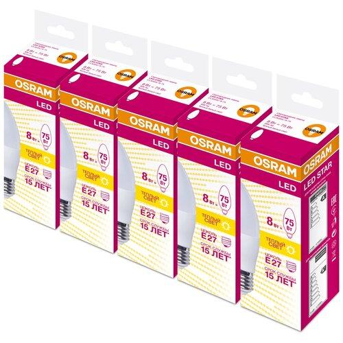 Фото - Упаковка светодиодных ламп 5 шт OSRAM LED Star Classic B 75 830, E27, 8Вт упаковка светодиодных ламп 5 шт osram led star classic b 75 830 e27 8вт