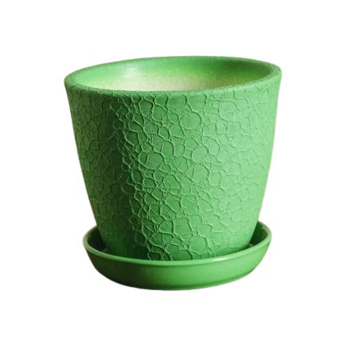 Горшок Керамика ручной работы с поддоном Глория шелк 11 х 10,5 см зелeный по цене 350