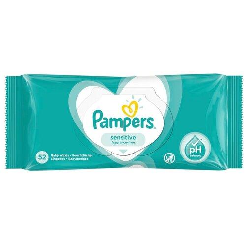 Влажные салфетки Pampers Sensitive, липучка, 52 шт.
