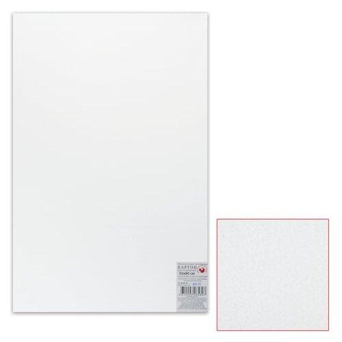 Картон белый грунтованный для живописи, 50х80 см, двусторонний, толщина 2 мм, акриловый грунт картон грунтованный подольские товары для художников для масляной живописи 50 х 70 см 4610003280871