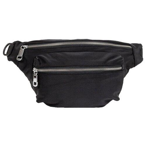 сумка на пояс женская dimanche регби цвет черный 231 1f Сумка текстильная на пояс и через плечо, водоотталкивающая пропитка, черный цвет, размер 33х18х8 см