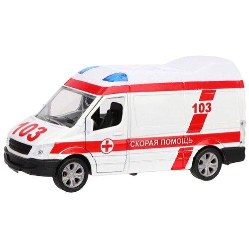 Фото - Микроавтобус Пламенный мотор Скорая помощь (870361), 11 см, белый эвакуатор пламенный мотор 870364 13 см белый