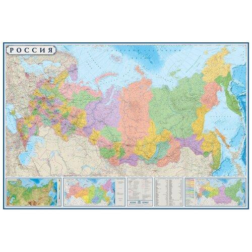 Настенная карта РФ политико-административная 1:3,7млн., 2,33х1,58м.