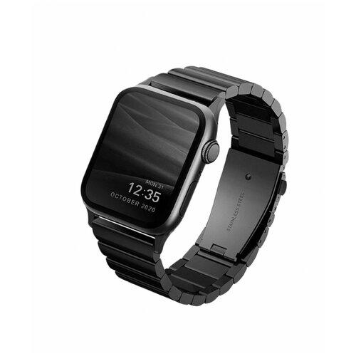 Ремешок Uniq для Apple Watch 44/42 mm Strova Strap Link Steel черный