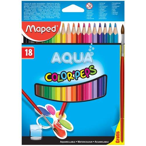 Фото - Maped Цветные карандаши Color Peps Aqua 18 цветов (836012) карандаши набор 18цв аквар maped color peps aqua кисть