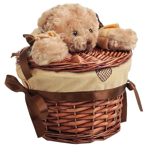 Фото - Доляна Корзина для белья круглая Медвежонок 21 х 21 х 15 см коричневый мочалка доляна медвежонок 4442512 коричневый красный
