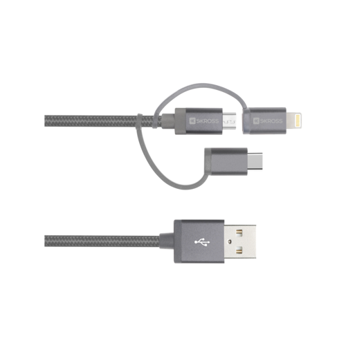Кабель 3 в 1 Кабель быстрой зарядки (для устройств с разъемом Lightning, USB C или Micro USB) 2.700271