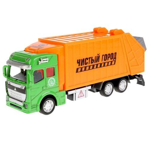 Купить Мусоровоз ТЕХНОПАРК 2211-1R, 19 см, зеленый/оранжевый, Машинки и техника