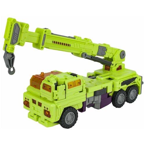 Трансформер 1 TOY Трансботы Инженерный батальон XL: Мега Кранер Т16434, зеленый/фиолетовый роботы 1 toy робот трансботы инженерный батальон xl мега кранер