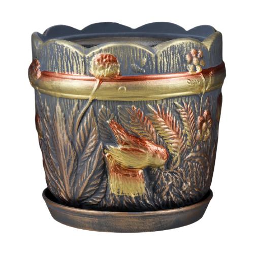 Горшок Керамика ручной работы с поддоном Поляна 29 х 29 см разноцветный