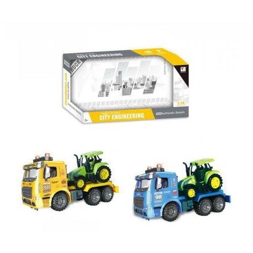 Купить Грузовик с трактором Junfa 1:14, инерционный, со звуком и светом, (синий или желтый) (98-615A), Junfa toys, Машинки и техника