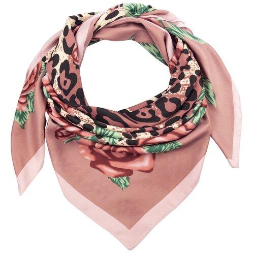 Шелковый платок на шею/Платок шелковый на голову/женский/Шейный шелковый платок/стильный/модный /21kdg85326-849a10vr розовый,зеленый/Vittorio Richi/100% шелк/90x90
