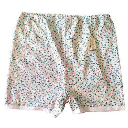 Русский стиль Трусы Панталоны короткие высокой посадки, размер 50, белый/цветочный принт