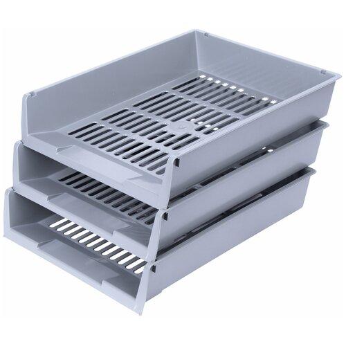 Купить Набор лотков горизонтальных для бумаги BRAUBERG Office 237255/237256 (3 отд.) серый, Лотки для бумаги