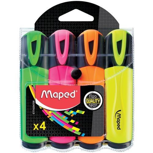 текстмаркер maped мапед франция набор 4шт fluo peps pocket мини скош 1 5мм жел роз оран зел 742777 Maped Набор текстовыделителей Fluo Peps, 4 шт. (742547)