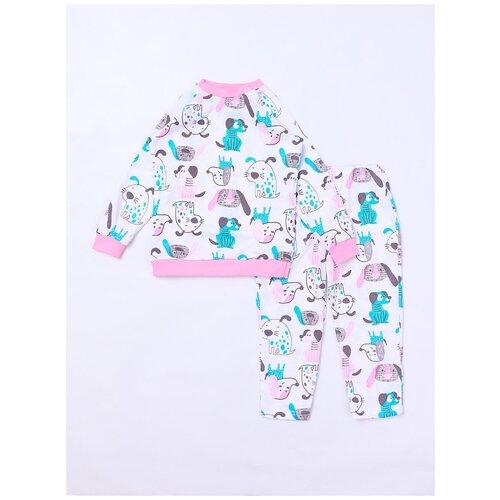 Купить 2821161 Пижама: Джемпер, брюки Пижамы 2021 , КотМарКот, размер 104, состав:100% хлопок, цвет Белый, KotMarKot, Домашняя одежда