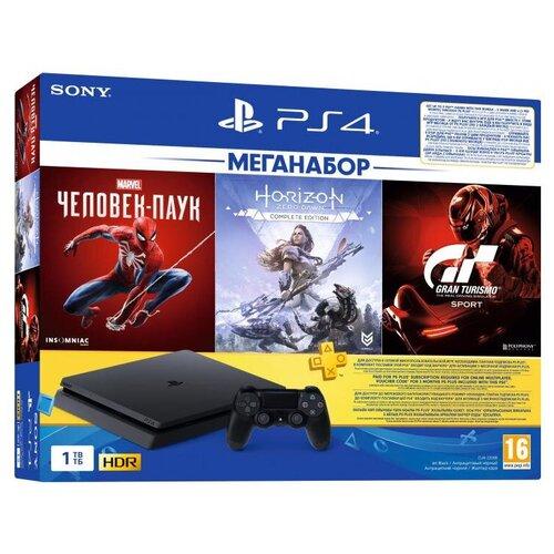 Игровая приставка Sony PlayStation 4 Slim 1 ТБ, черный, Gran Turismo Sport + Horizon Zero Dawn + Marvel Человек Паук + PS Plus 3 месяца