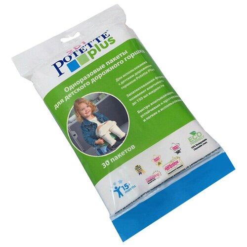potette plus салфетки potette plus 2 в 1 my wipes 20 влажных и 10 сухих 100% органические салфетки бежевый Potette Plus сменные пакеты для дорожных горшков 30 шт. белый