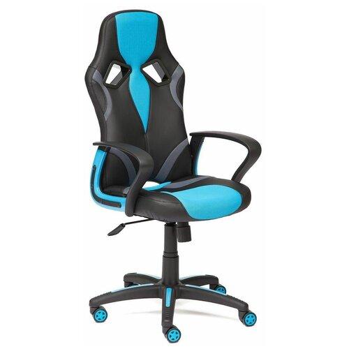 Фото - Компьютерное кресло TetChair Runner игровое, обивка: текстиль/искусственная кожа, цвет: черный/голубой компьютерное кресло tetchair багги обивка текстиль искусственная кожа цвет черный серый
