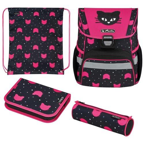 Купить Ранец школьный Herlitz Loop Black Cat, Кот, розовый, с наполнением, Рюкзаки, ранцы