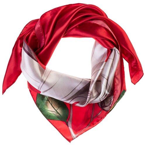 Шелковый платок на шею/Платок шелковый на голову/женский/Шейный шелковый платок/стильный/модный /21kdgPL903004-1vr красный,бежевый/Vittorio Richi/80% шелк,20% полиэстер/90x90