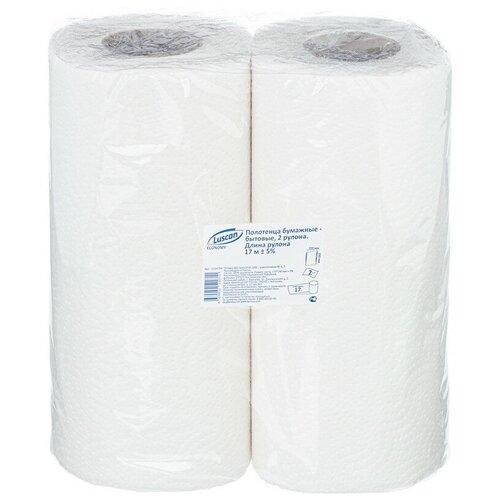 Купить Полотенца бумажные Luscan Economy 2-сл., целлюлоза с тиснением, 2рул./уп 4 шт.