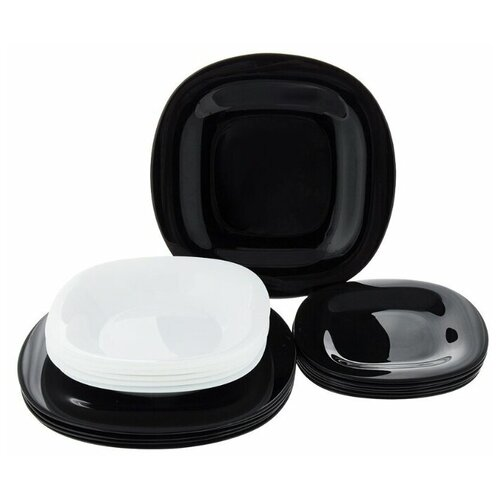 Столовый сервиз CARINE WHITE&BLACK 18 предметов 6 персон столовый сервиз luminarc carine beatitude n2250 6 персон белый