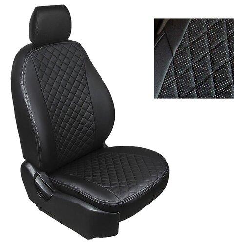 Чехлы из алькантары Ромб Seintex для Volkswagen Passat B6, B7 2005-2015 (черные, 96044)