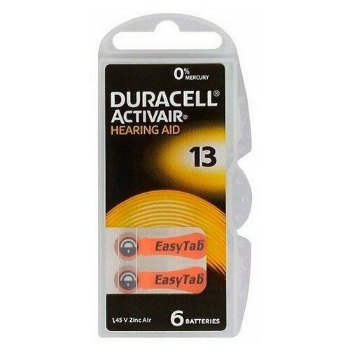Фото - Батарейки DURACELL ZA13 (PR48) для слуховых аппаратов (6 шт) батарейки duracell activeair nugget box za675 da675 6bl