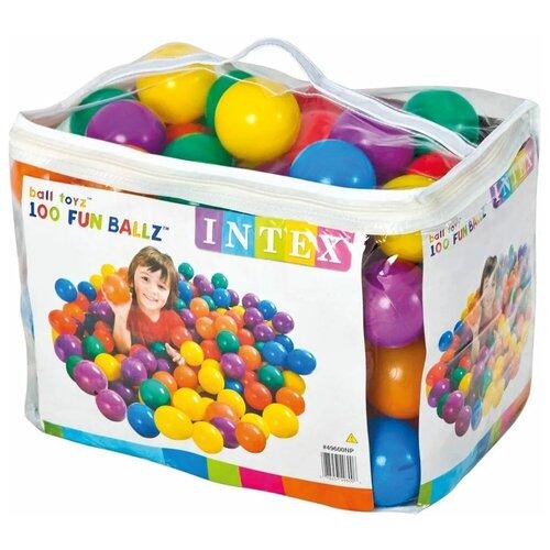 Пластиковые мячи 8см, 100шт для игровых центров, от 2 лет, Intex