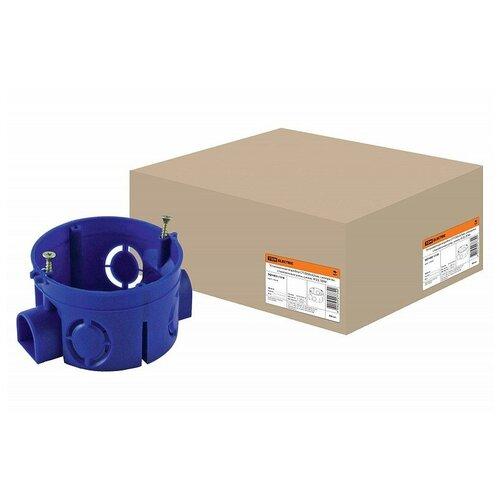 Установочная коробка СП D68х42мм, саморезы, стыковочные узлы, синяя, IP20, TDM