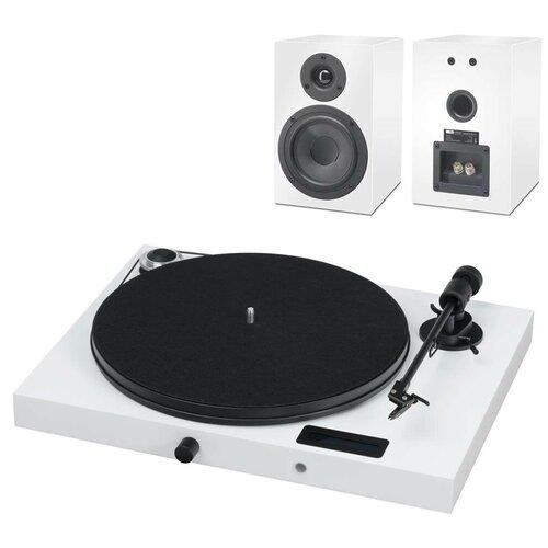 Виниловый проигрыватель Pro-Ject Juke Box E + Speaker Box 5 (OM5e) белый виниловый проигрыватель pro ject juke box e piano black om 5e