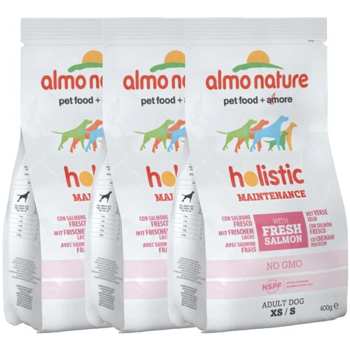 Сухой корм для щенков Almo Nature Holistic, курица 3 шт. х 400 г (для мелких пород) сухой корм для щенков almo nature holistic курица 12 кг для мелких пород