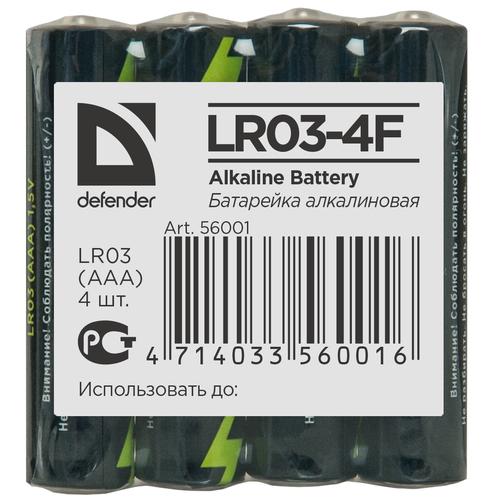 Фото - Батарейка Defender алкалиновая AAA LR03, 4 шт. батарейка energizer max aaa lr03 4 шт