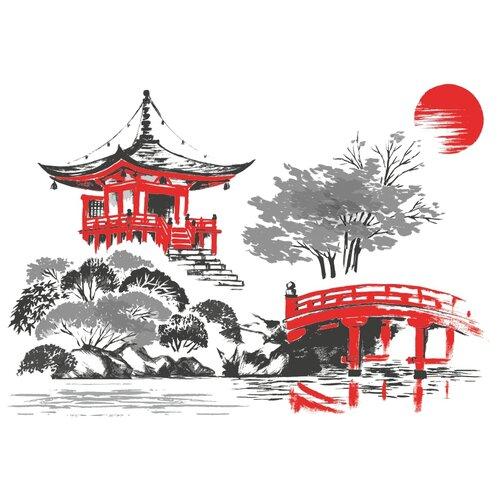 Наклейка Woozzee Храм Дайгодзи (крупный) суми-э, водостойкая, многоразовая