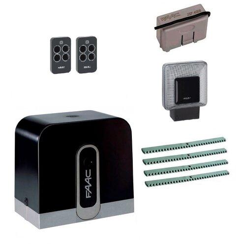 Автоматика для откатных ворот FAAC C720KIT-L4, комплект: привод, радиоприемник, 2 пульта, лампа, 4 рейки автоматика для откатных ворот faac c720kit fa4 комплект привод радиоприемник 2 пульта фотоэлементы 4 рейки